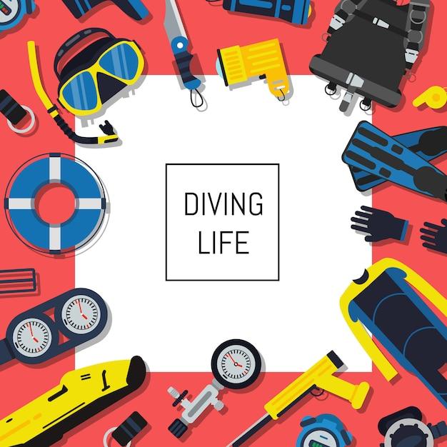 Attrezzatura subacquea subacquea con quadrato bianco e posto per il testo. attrezzatura da immersione sportiva per nuoto, pinne e snorkeling, ossigeno e muta Vettore Premium
