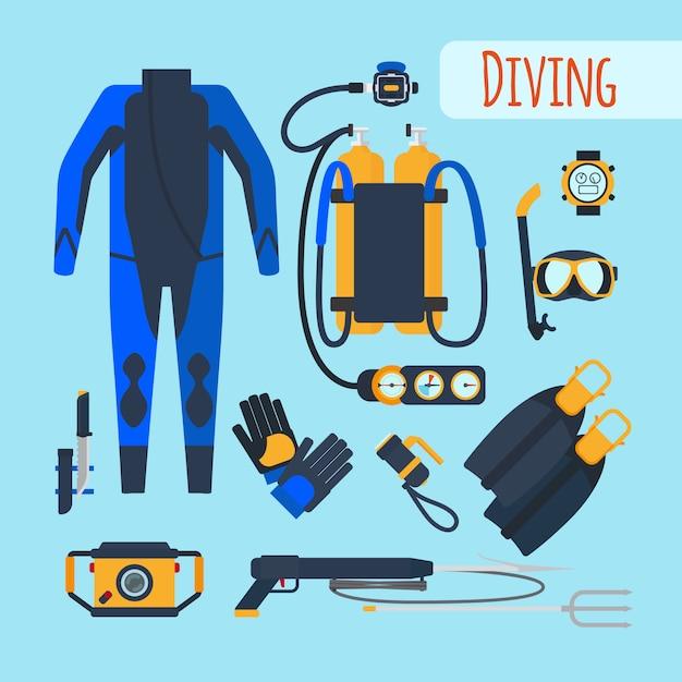 Attrezzatura subacquea Vettore Premium