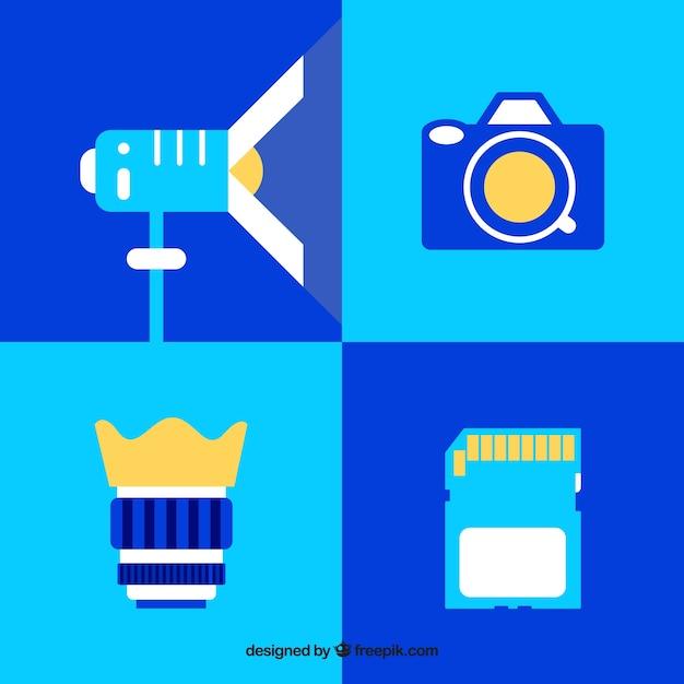 Attrezzature fotografiche piatto Vettore gratuito
