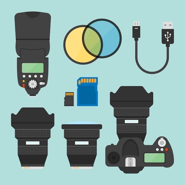 Attrezzature fotografiche set di elementi di disegno vettoriale Vettore Premium