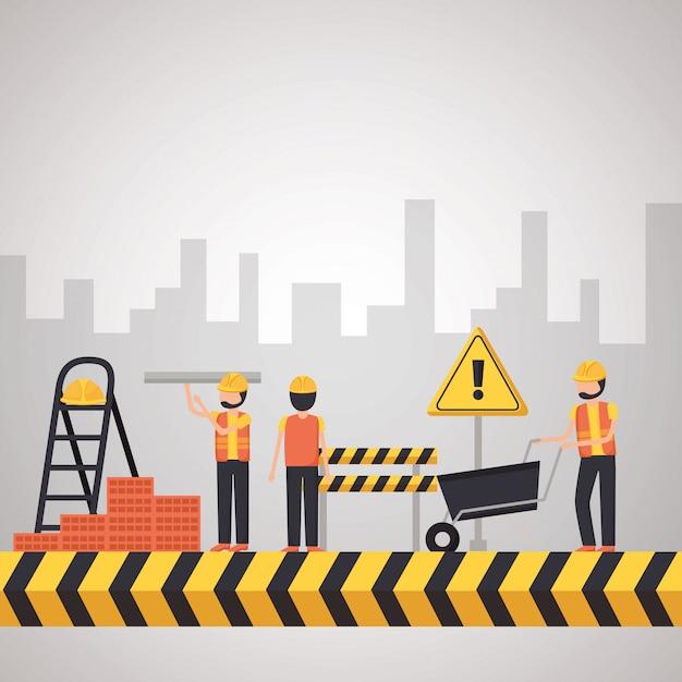 Attrezzature per l'edilizia dei lavoratori Vettore gratuito