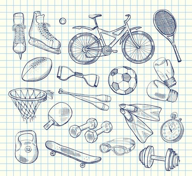 Attrezzature sportive disegnate a mano sul notebook Vettore Premium
