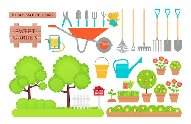 Attrezzi da giardino. collezione giardinaggio. illustrazione piatta. Vettore Premium