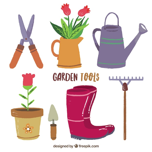Attrezzi da giardino disegni piatti scaricare vettori gratis - Attrezzi da giardino professionali ...