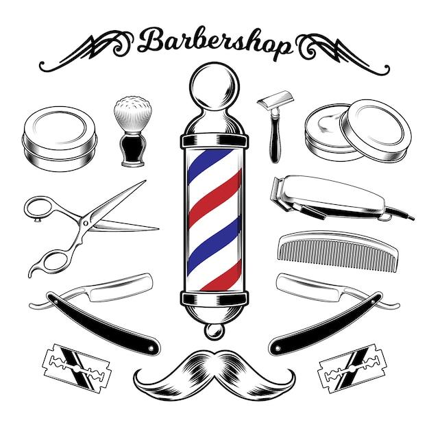 Attrezzi di barbiere di raccolta monocromatico di vettore. Vettore gratuito
