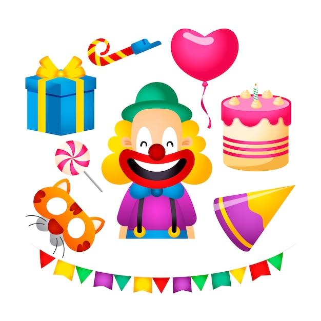 Attributi colorati della festa di compleanno Vettore gratuito