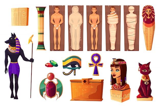 Attributi egiziani antichi di cultura e religione Vettore gratuito