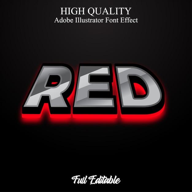 Audace 3d moderno con effetto carattere modificabile in stile testo a luce rossa Vettore Premium