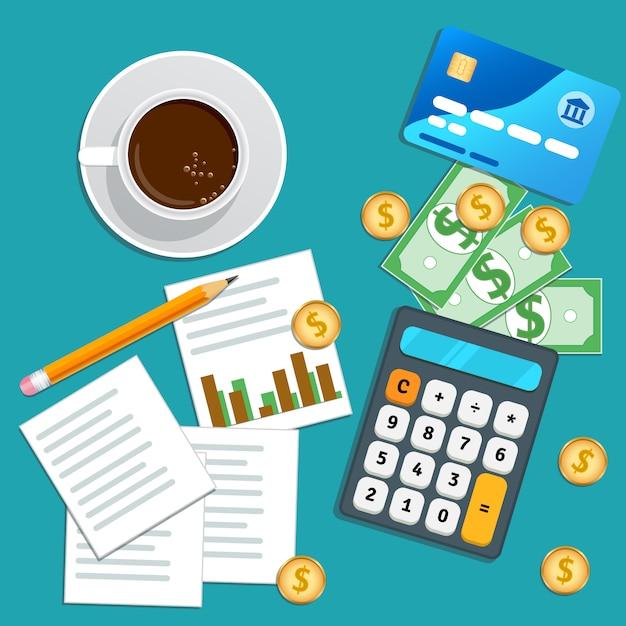 Audit finanziario, contabilità, pianificazione aziendale Vettore Premium