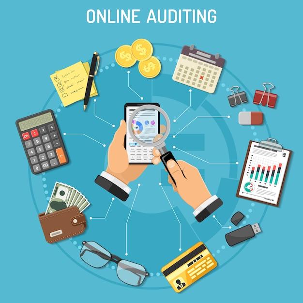 Auditing online, processo fiscale, concetto di contabilità Vettore Premium