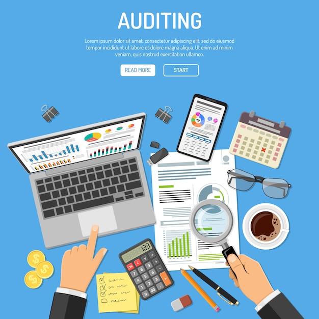 Auditing, processo fiscale, concetto di contabilità Vettore Premium