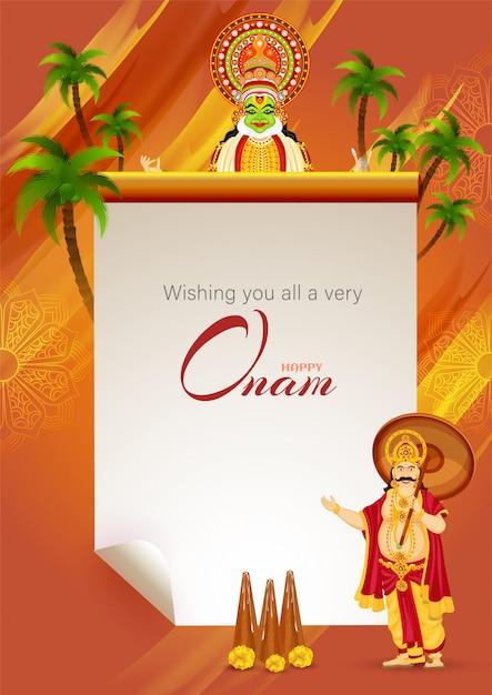 Augurando a tutti una carta del messaggio del festival happy onam Vettore Premium