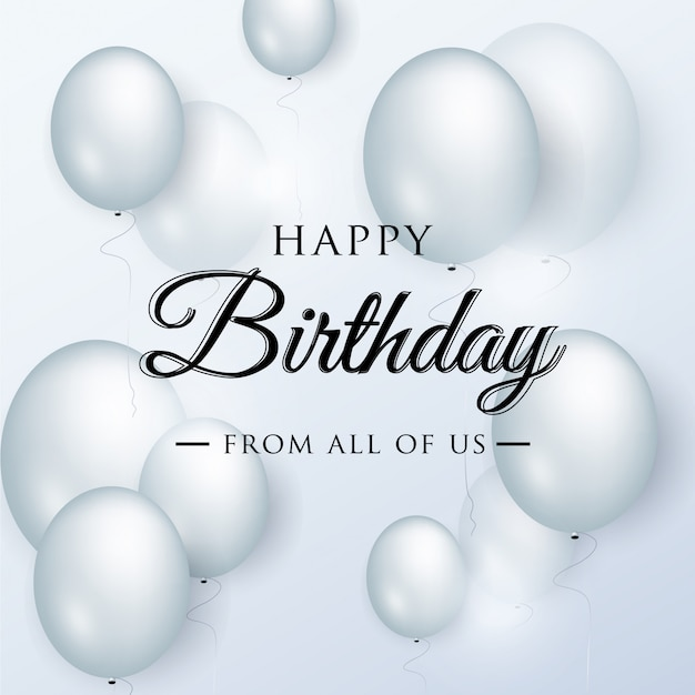 Auguri di buon compleanno elegante con palloncini blu Vettore Premium