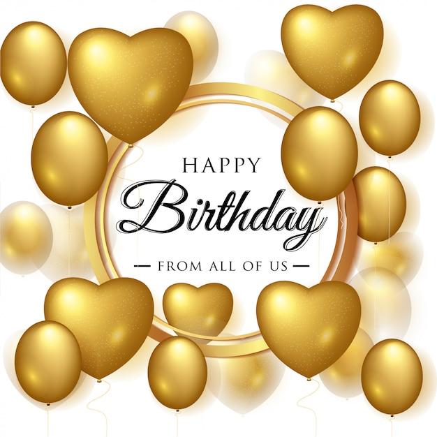Auguri di buon compleanno elegante con palloncini d'oro Vettore Premium