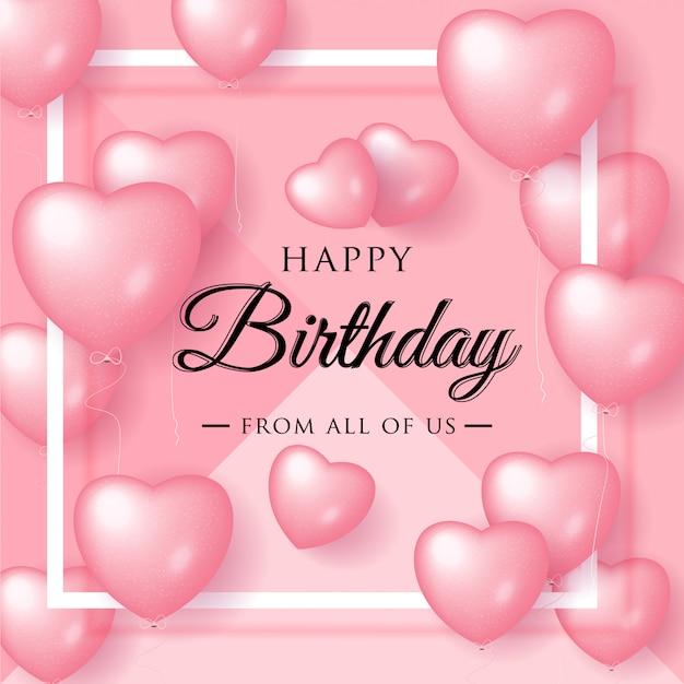 Auguri di buon compleanno elegante con palloncini rosa Vettore Premium