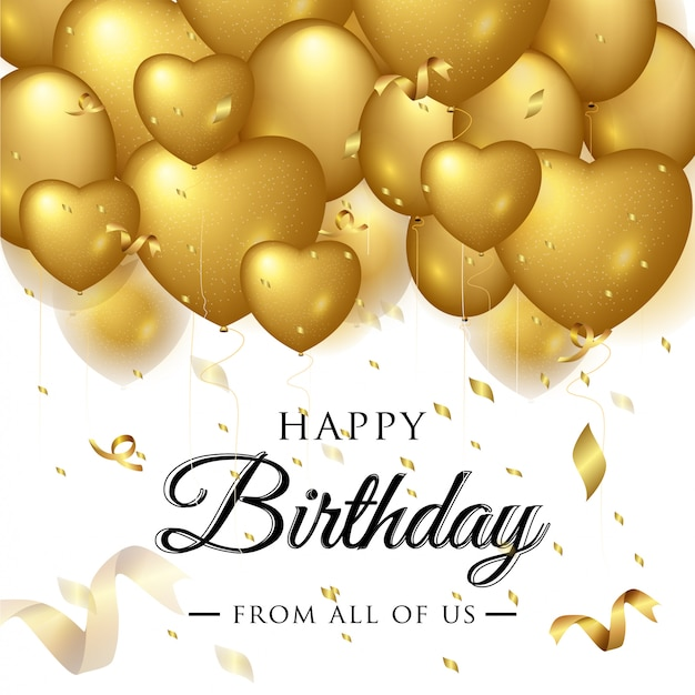 Auguri di buon compleanno elegante Vettore Premium
