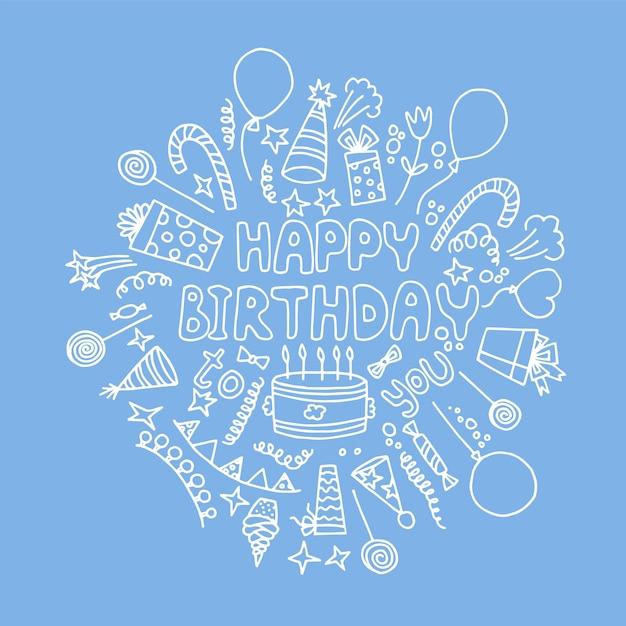 Auguri di buon compleanno. linea artistica Vettore Premium