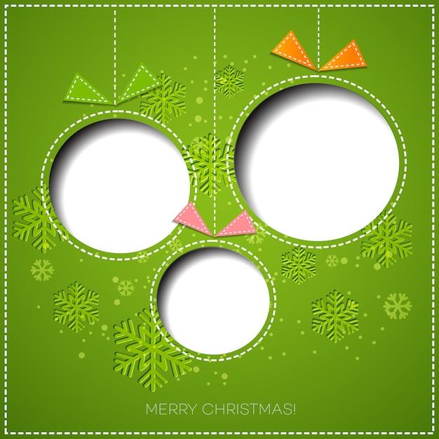 Auguri di buon natale con pallina. design di carta Vettore Premium