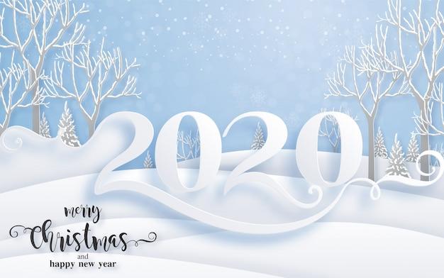 Auguri di buon natale e modelli di felice anno nuovo 2020 con bellissimi disegni di carta tagliati a neve e inverno. Vettore Premium