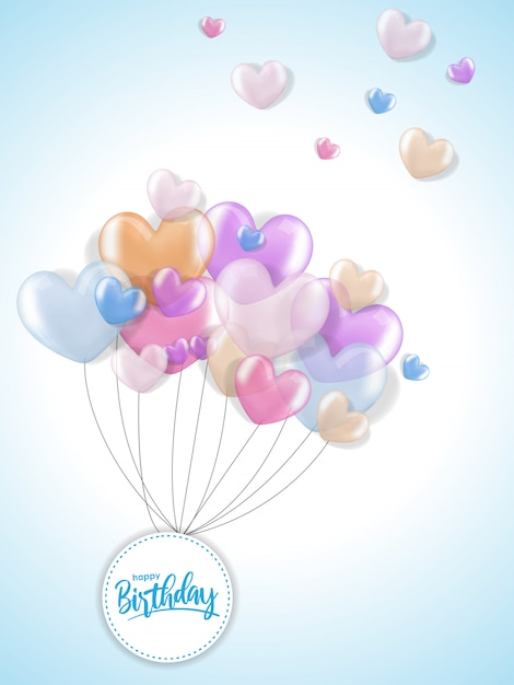 Auguri di compleanno con palloncino cuore realistico 3d Vettore Premium