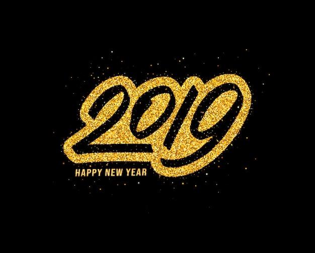 Auguri di felice anno nuovo 2019 Vettore Premium