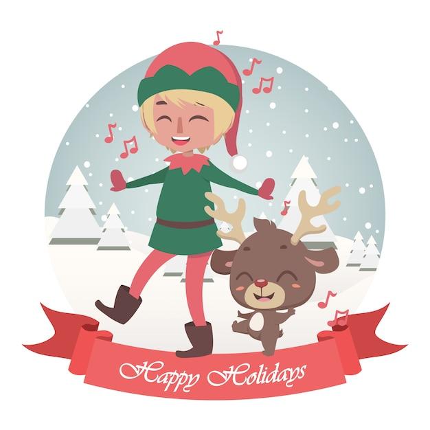 Auguri Di Natale Carini.Auguri Di Natale Carini Con Il Canto Di Elfo Allegro E Renne Vettore Premium