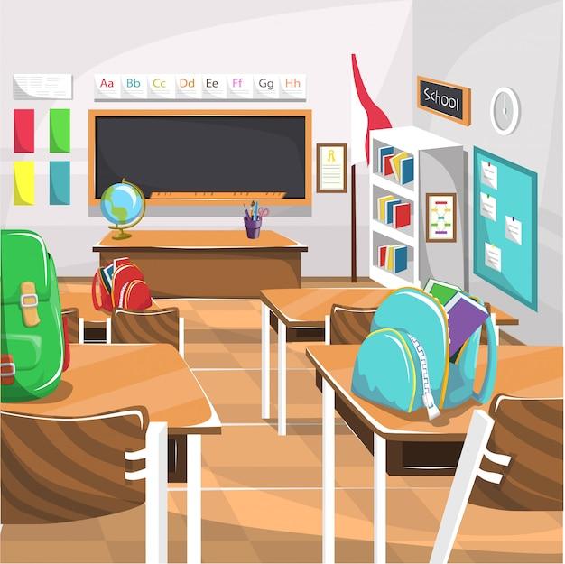 Aula della scuola elementare con lavagna Vettore Premium