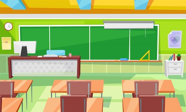 Aula interna della stanza della scuola con l'insegnante table Vettore Premium