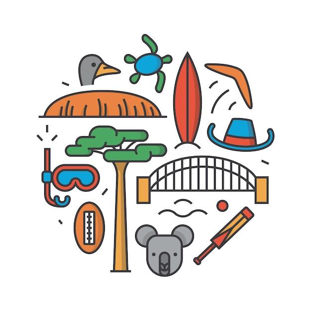 Australia, illustrazione di contorno, modello, sfondo bianco: boomerang, cappello, servo, ponte, cricket, koala, albero baobab, sport, montagna uluru, struzzo, tartaruga Vettore Premium