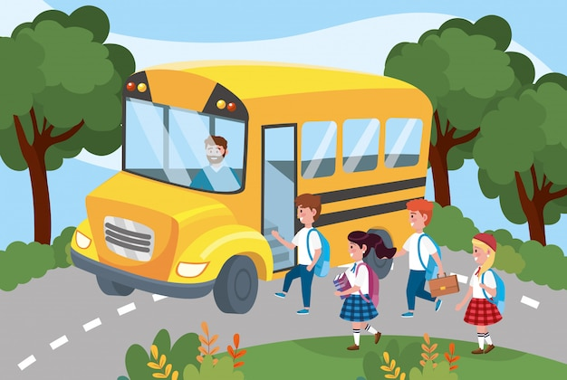 Autista all'interno di uno scuolabus con ragazze e ragazzi studenti Vettore gratuito