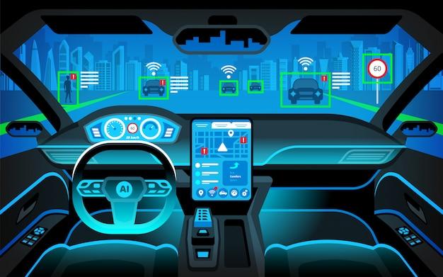 Auto autonoma in pozzetto. veicolo a guida autonoma. intelligenza artificiale sulla strada. head up display (hud) e varie informazioni. interni del veicolo Vettore Premium