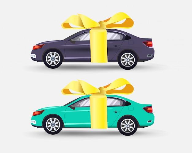 Auto come regalo con fiocco in nastro giallo Vettore Premium