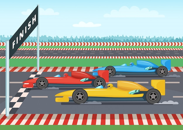 Auto da corsa al traguardo. illustrazione di sfondo sportivo vincitore della velocità dell'auto, vettore di linea di finitura a scacchi Vettore Premium