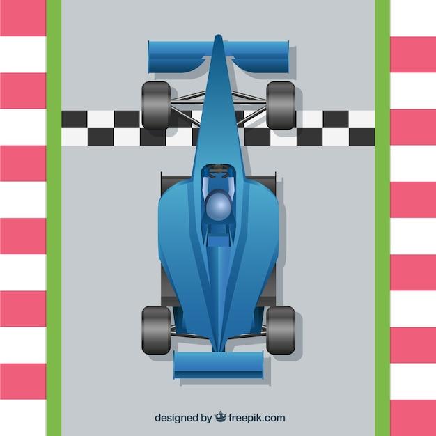 Auto da corsa di formula 1 realistica al traguardo Vettore gratuito