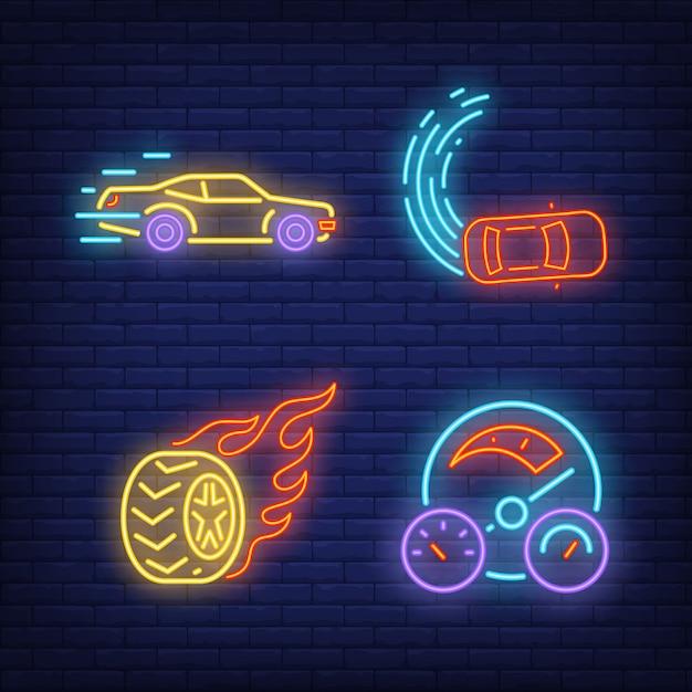 Auto da corsa, ruota a fuoco e tachimetro insegne al neon impostate Vettore gratuito