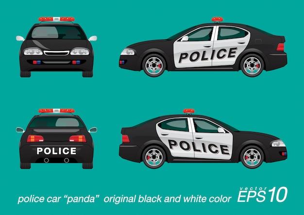 Auto della polizia in bianco e nero Vettore Premium