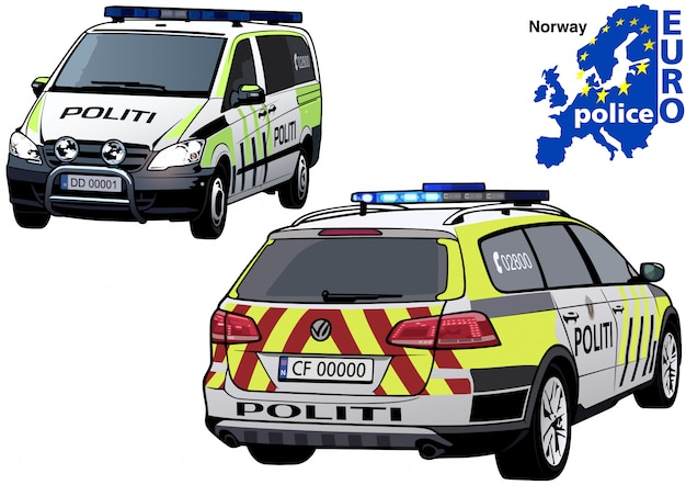 Auto della polizia norvegese Vettore Premium