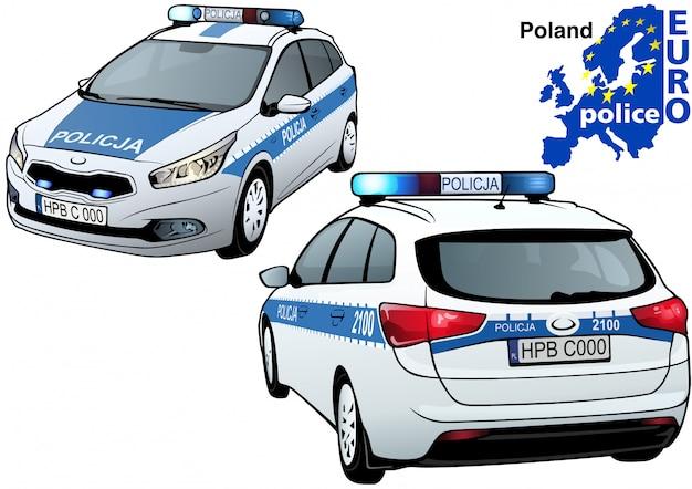 Auto della polizia polacca Vettore Premium