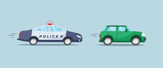 Auto di pattuglia della polizia con luce rossa lampeggiante a caccia di auto verde. Vettore Premium