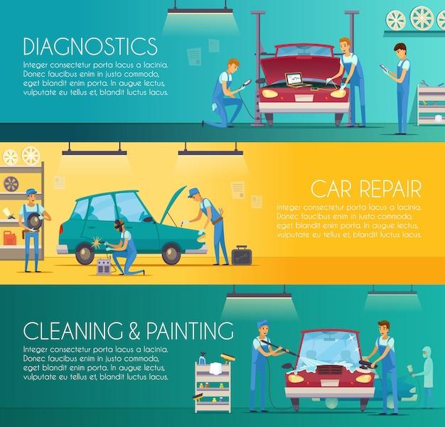 Auto diagnostica riparazione manutenzione e auto carrozzeria pittura retrò dei cartoni animati Vettore gratuito
