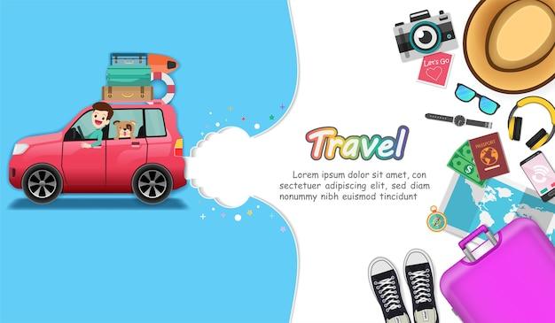 Auto e accessori viaggiano per il mondo. Vettore Premium