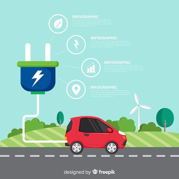 Auto elettrica infografica Vettore gratuito