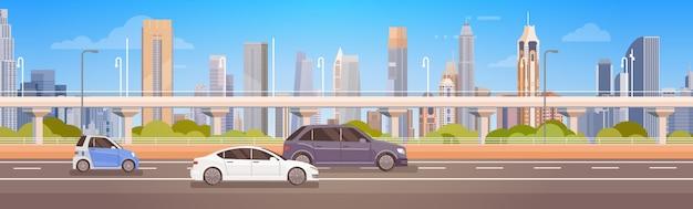 Auto guida city street panorama urban road Vettore Premium