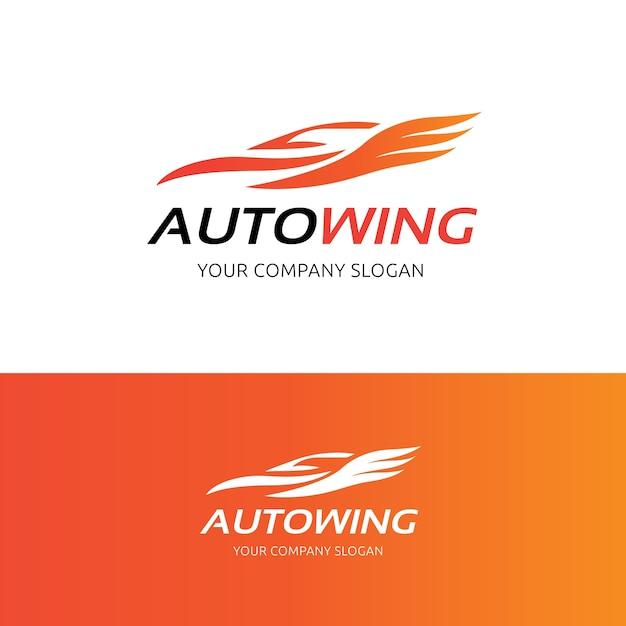 Auto logo ala, modello auto e logo automobilistico. Vettore Premium