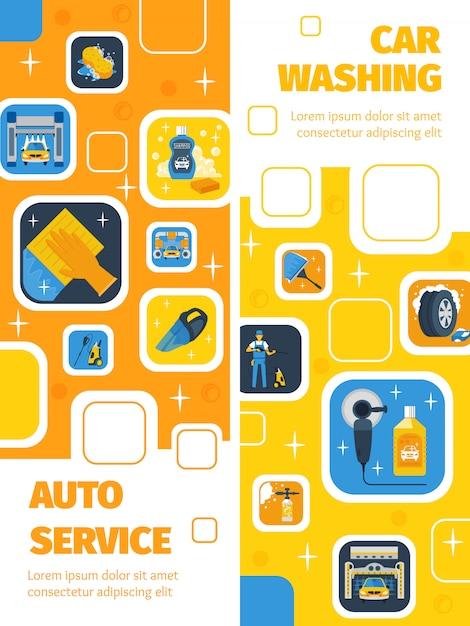 Auto service con autolavaggio centro 2 banner verticale piatto pubblicità prodotti per la pulizia simboli Vettore gratuito