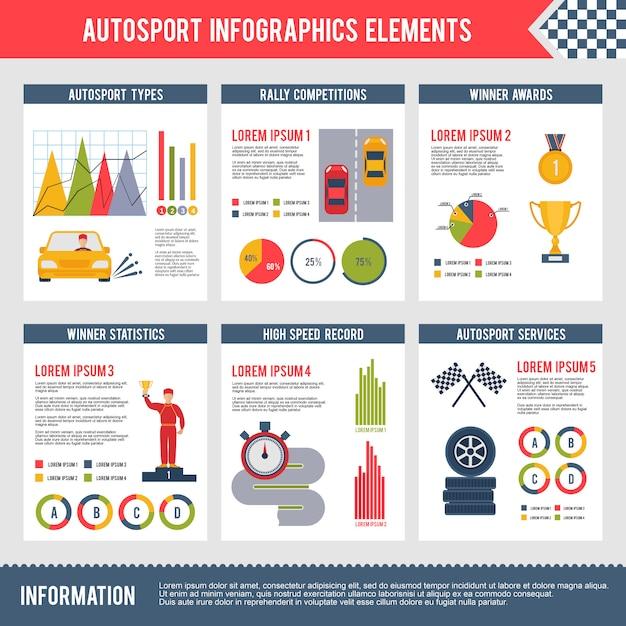 Auto sport infographics Vettore Premium