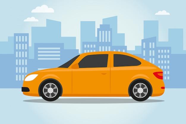 Auto su sfondo blu della città Vettore Premium