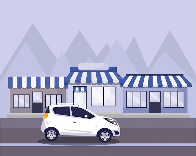 Auto sulla strada di fronte ai negozi Vettore Premium