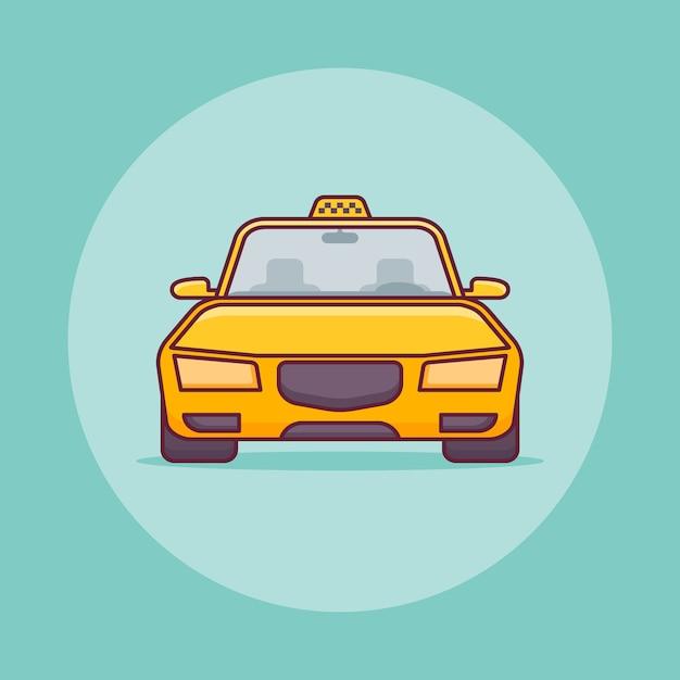 Auto taxi gialla in stile linea piatta. Vettore Premium