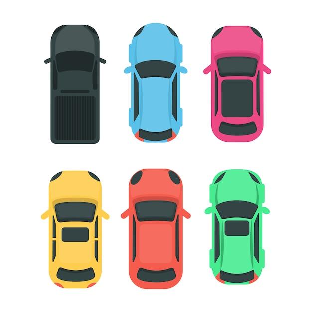 Auto vista dall'alto. veicoli diversi colorati su bianco. Vettore Premium